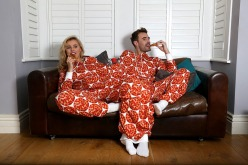 "alt=""Eye Candy promotional models looking cosy at the Just Eat experiential campaign wearing the new Twosie."""