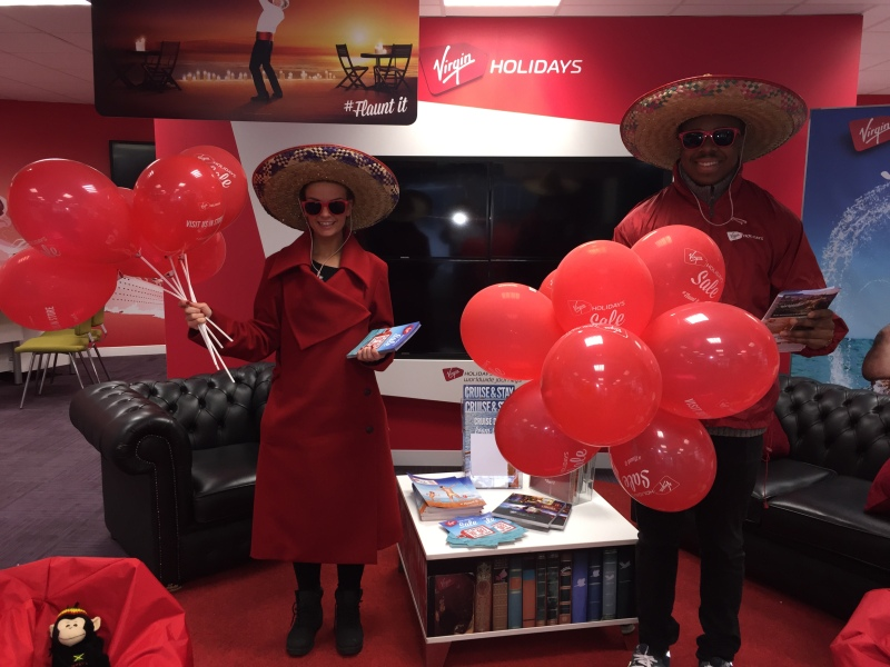 "alt=""Our gorgeous promotional staff distributing leaflets and balloons for Virgin offers this Summer"""