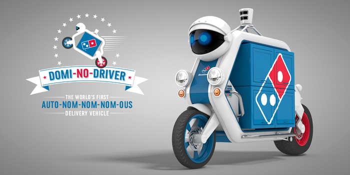 "alt=""The all new Domi-No-Driver. Domino's 21st Century way of delivering doughy goods such as pizza and cookies."""