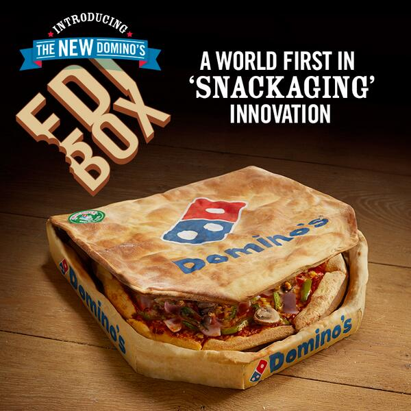 "alt=""Dominos fantastic edi box! The first box that doesn't only hold your pizza, but tastes like it to! """